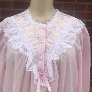 Pink Laced Pearl Buttons Night Gown Sleepwear sz L